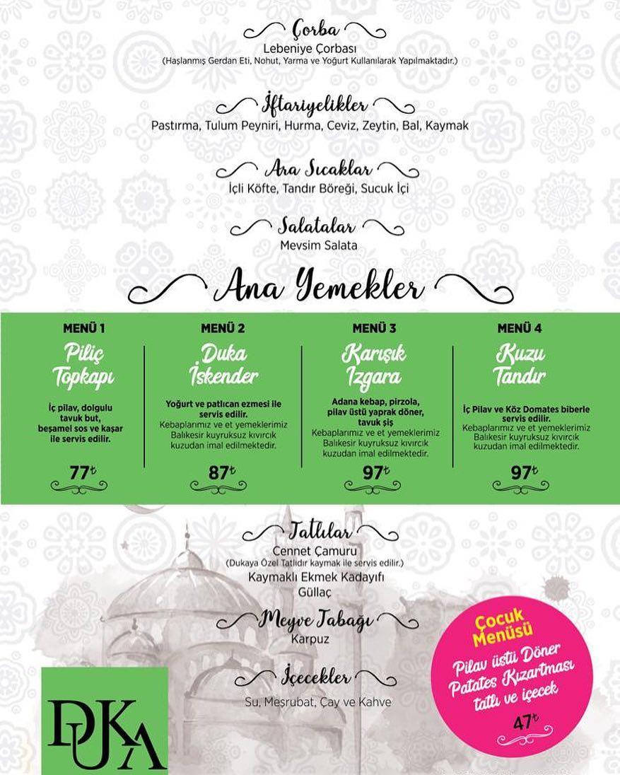 duka restaurant kayseri duka fiyat listesi duka iftar menüsü duka kayseri iftar menüleri duka kebap iftar menü