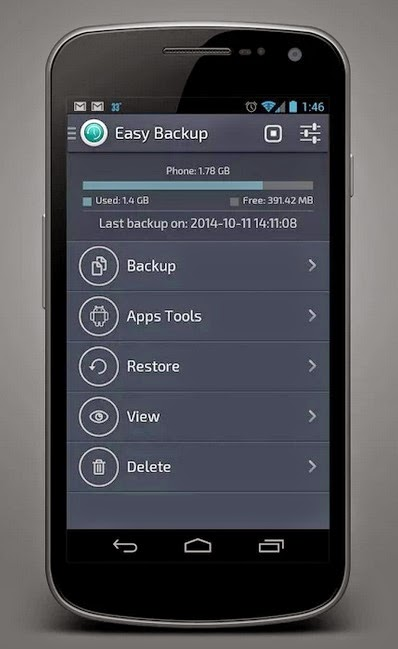 Backup Android con app Easy backup