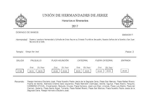 Programa, Horarios e Itinerarios Semana Santa Jerez (Cádiz) 2017