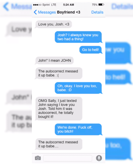 Funny Screenshots Of The Cheaters That Got Caught In The Act - Autocorrect is cool.