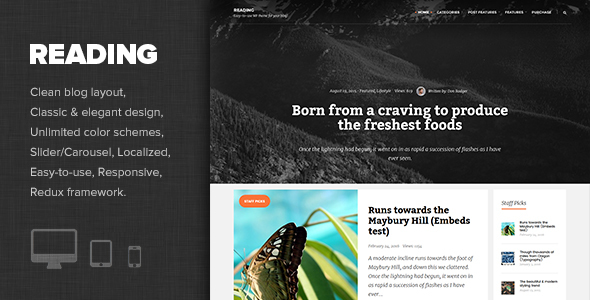 Reading - Elegant Personal Blog Theme Free Download
