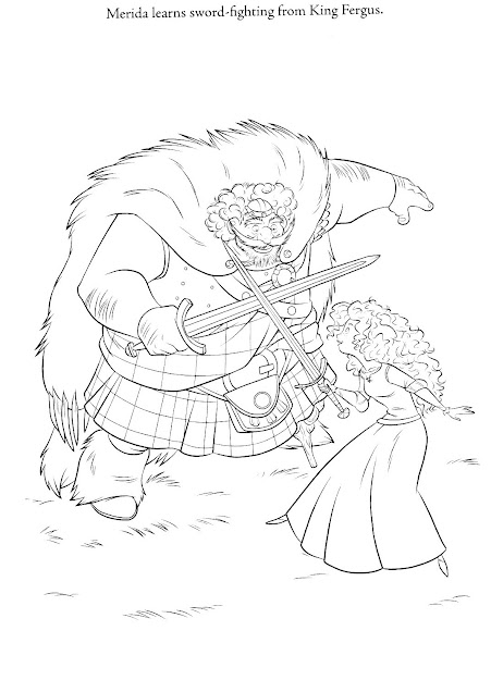 Coloring Page Of Merida And King Fergus Brave