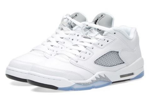 70685ac537bd Here is a look at the Air Jordan 5 Retro Low GS  White-Wolf Grey  Sneaker  available in sizes up to size 9.5 at 10am HERE at champs
