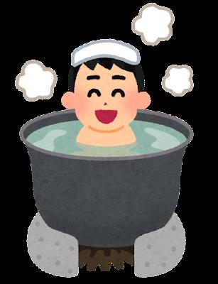五右衛門風呂に入る人のイラスト