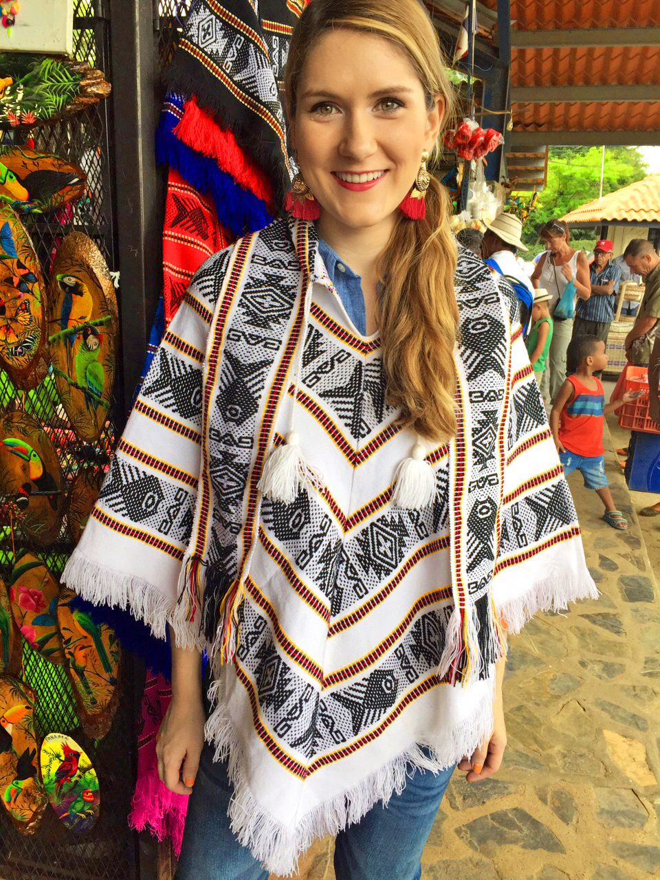 Loving this poncho from the markets of El Valle, Panama