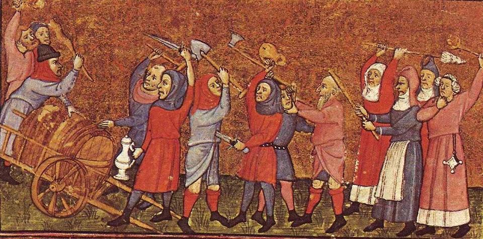 Cena de uma revolta camponesa, Jean Froissart  (1337-1405)