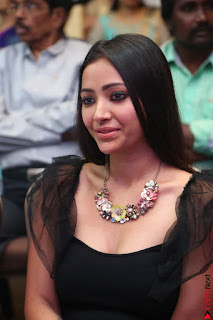 Swetha Basu in a Black Sleeveless Top Long Skirt at Mixture Potlam Movie Audio Launch 032.JPG