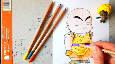 Speed drawing of young Krillin - Dragon Ball
