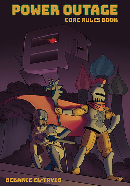 The Power Outage cover including an imposing image of a toaster-headed being in the background next to turrets, with a knight-styled character with a cape in the front holding a horse staff, next to a person in crash-test dummy styled costume.