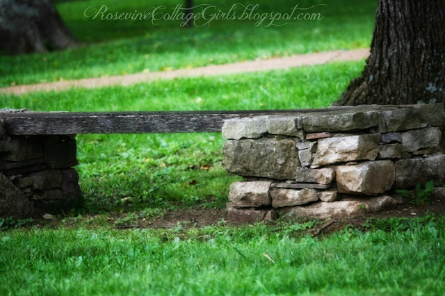Stone and wood park bench on the grounds of Belle Meade Plantation | Rosevinecottagegirls.com
