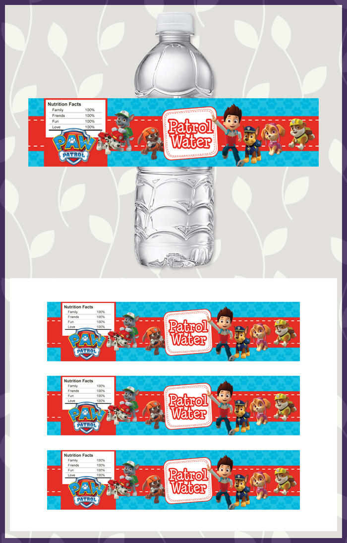 Free Printable Paw Patrol Water Bottle Labels | Dark Paw Theme
