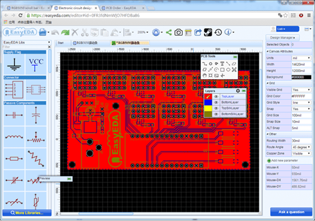 EasyEDA PCB barra de leds.