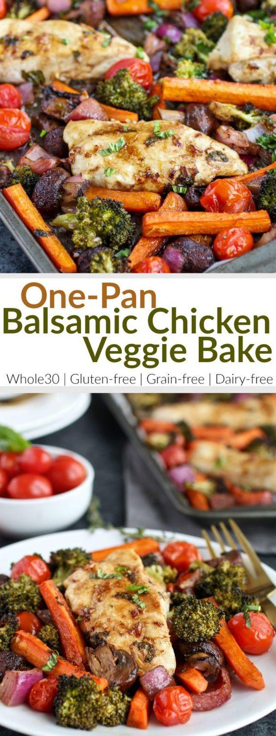 One-Pan Balsamic Chicken Veggie Bake #dinner #maincourse #onepan #balsamic #chicken #veggie #bake