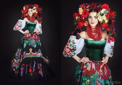 """Образ національного костюму складається з блузки–корсета, пишної спідниці та головного убору і називається """"Квітуча Україна""""."""