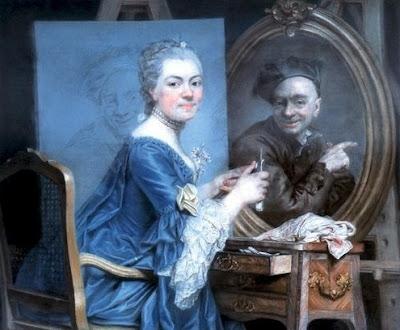 Autoportrait avec le portrait de Maurice-Quentin de La Tour à l'index (1770), Marie Suzanne Giroust Roslin
