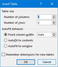 Insert tabel word