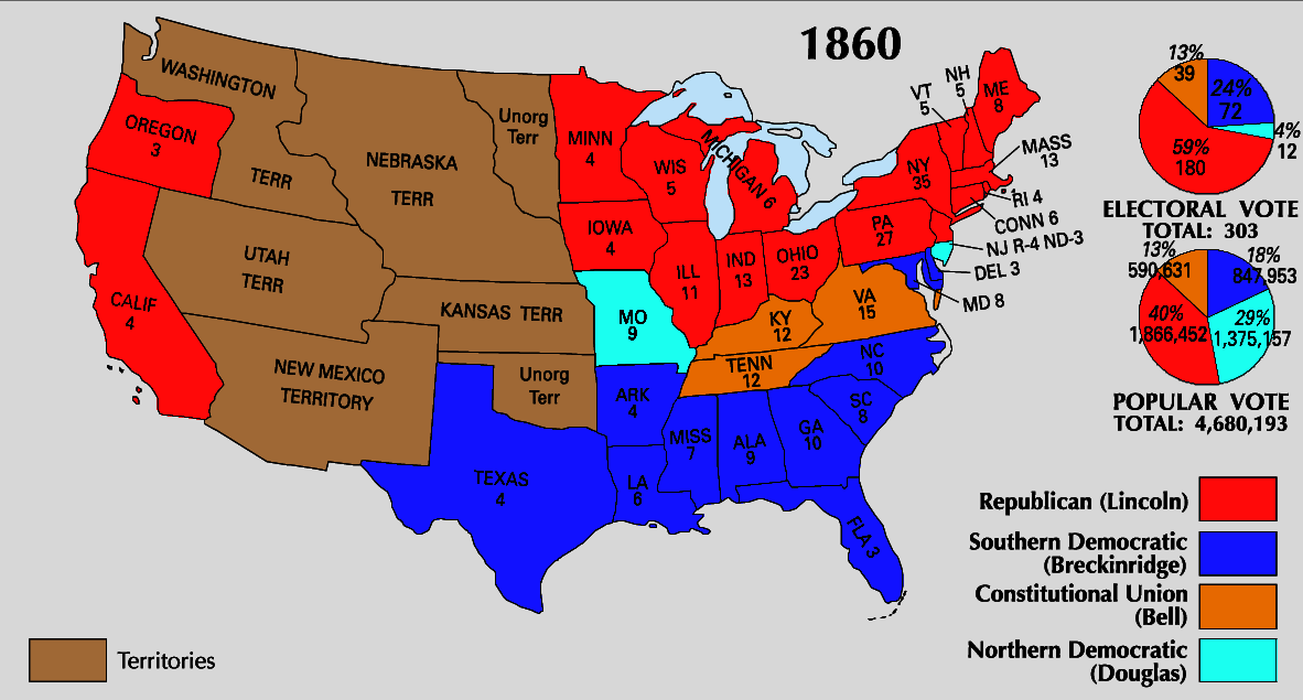 Election Of 1860 Map Traffic Club