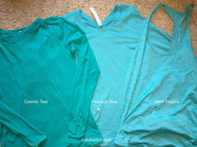 lululemon color-comparison cosmic-teal-peacock-blue-tropics