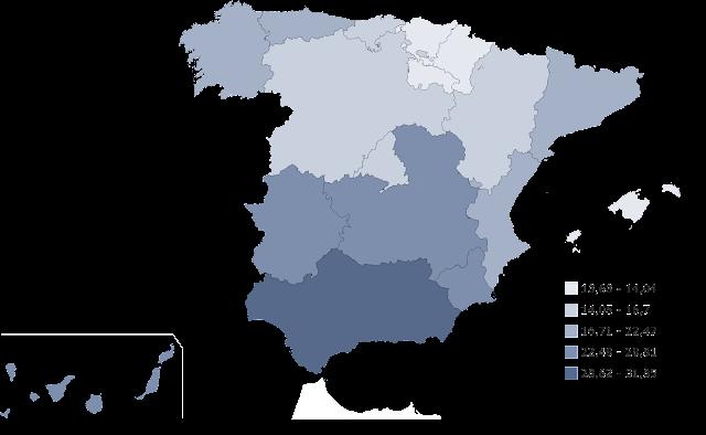 Mapa del desempleo de España