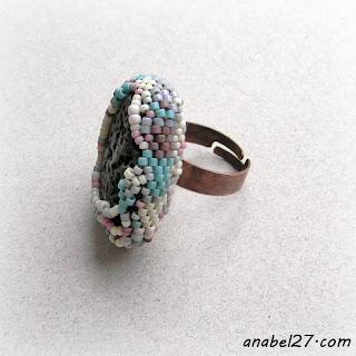 купить кольцо из бисера с камнем фриформ эко-стиль