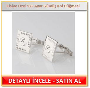 Kişiye Özel İşlemeli 925 Ayar Gümüş Kol Düğmesi
