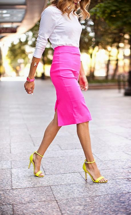 Wearing a White Shirt, High waisted Pink Pencil Skirt with Yellow Heels