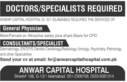PaperPk Daily Jobs: Jobs in Anwar Capital Hospital Islamabad