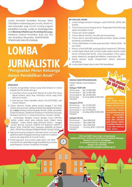 Lomba Jurnalistik Kemdikbud 2016 (Total Hadiah Rp 180 Juta)