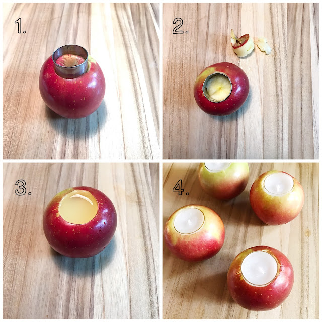 DIY tealight apple candles