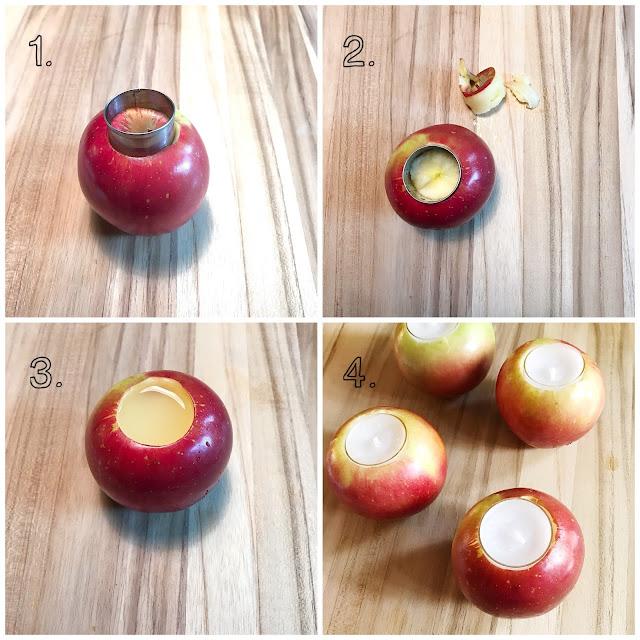 DIY tealight apple candles