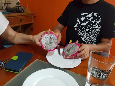 Have you ever eaten this fruit? It's called pitaya (dragon fruit)