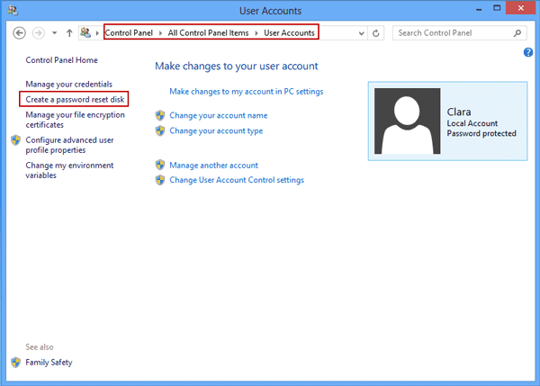 get windows 8 password reset disk in control panel