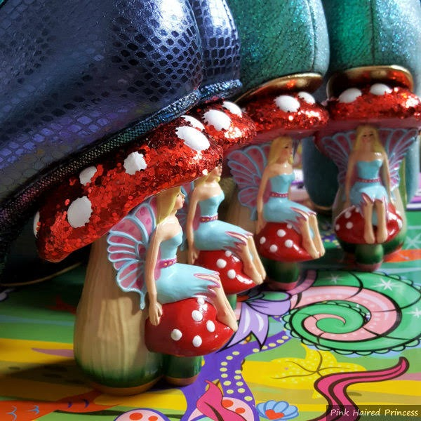 group of toadstool heels lined up on shoes