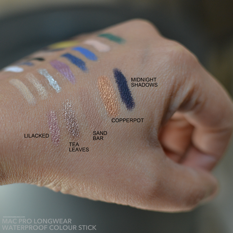 MAC Pro Longwear Colour Sticks Waterproof Cream Eyeshadows Swatches - Sand Bar Copperpot Midnight Shadows Tea Leaves Lilacked