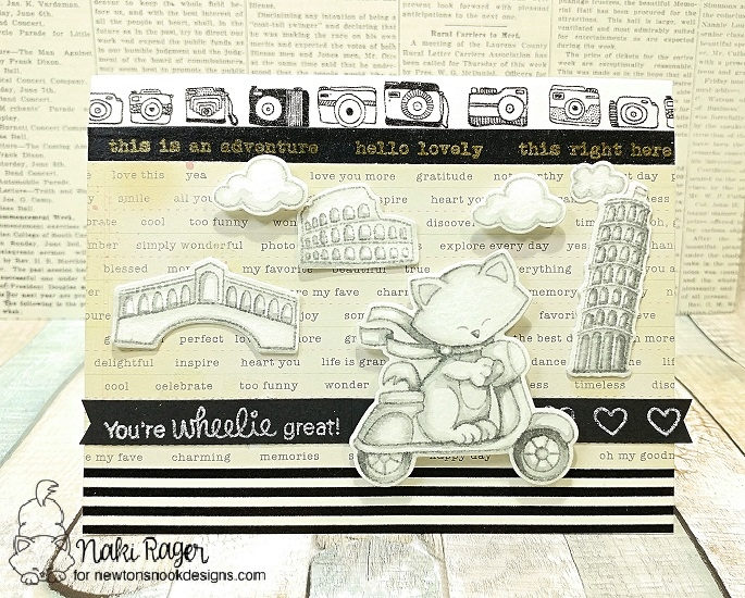 Monochromatic Cat on Scooter card by Naki Rager | Newton Scoots By Stamp Set by Newton's Nook Designs #newtonsnook