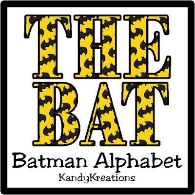 This alphabet would be perfect to create scrapbook pages or party printables for my next Batman party.  With the Bat symbol in the background and the iconic yellow and black colors, it's so much fun to use on any printable project for a Batman fan.