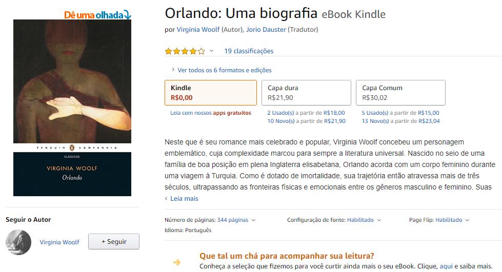 exemplo de página na Amazon