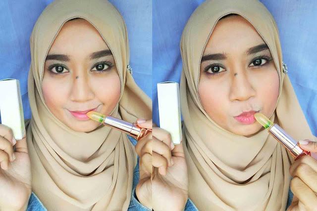 Bibir Merah dengan Cadeau Pure Flower Extract Lip Glow