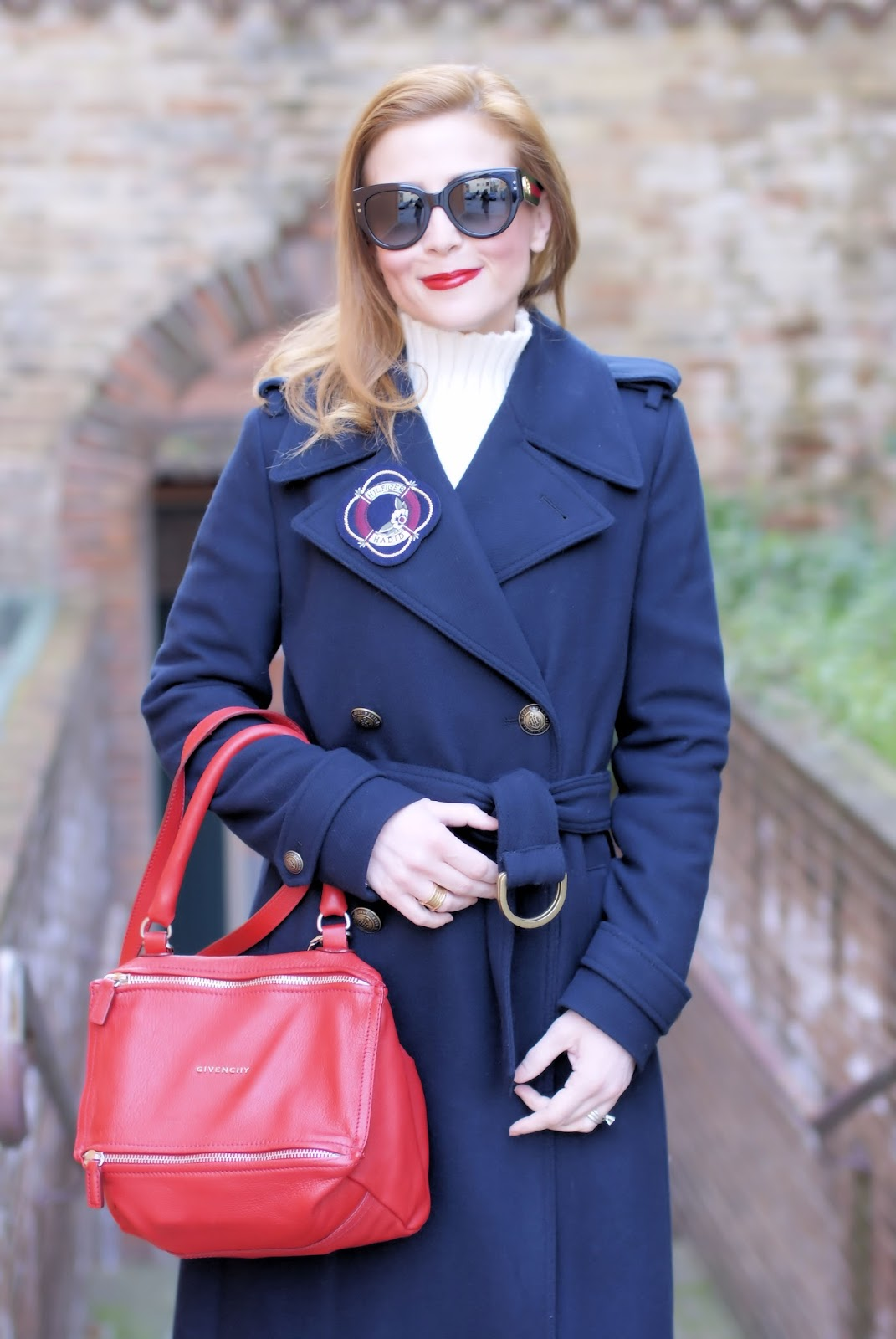 Navy style fashion outfit with Tommy Hilfilger tommyxgigi coat, Gucci sunglasses on Fashion and Cookies fashion blog, fashion blogger style