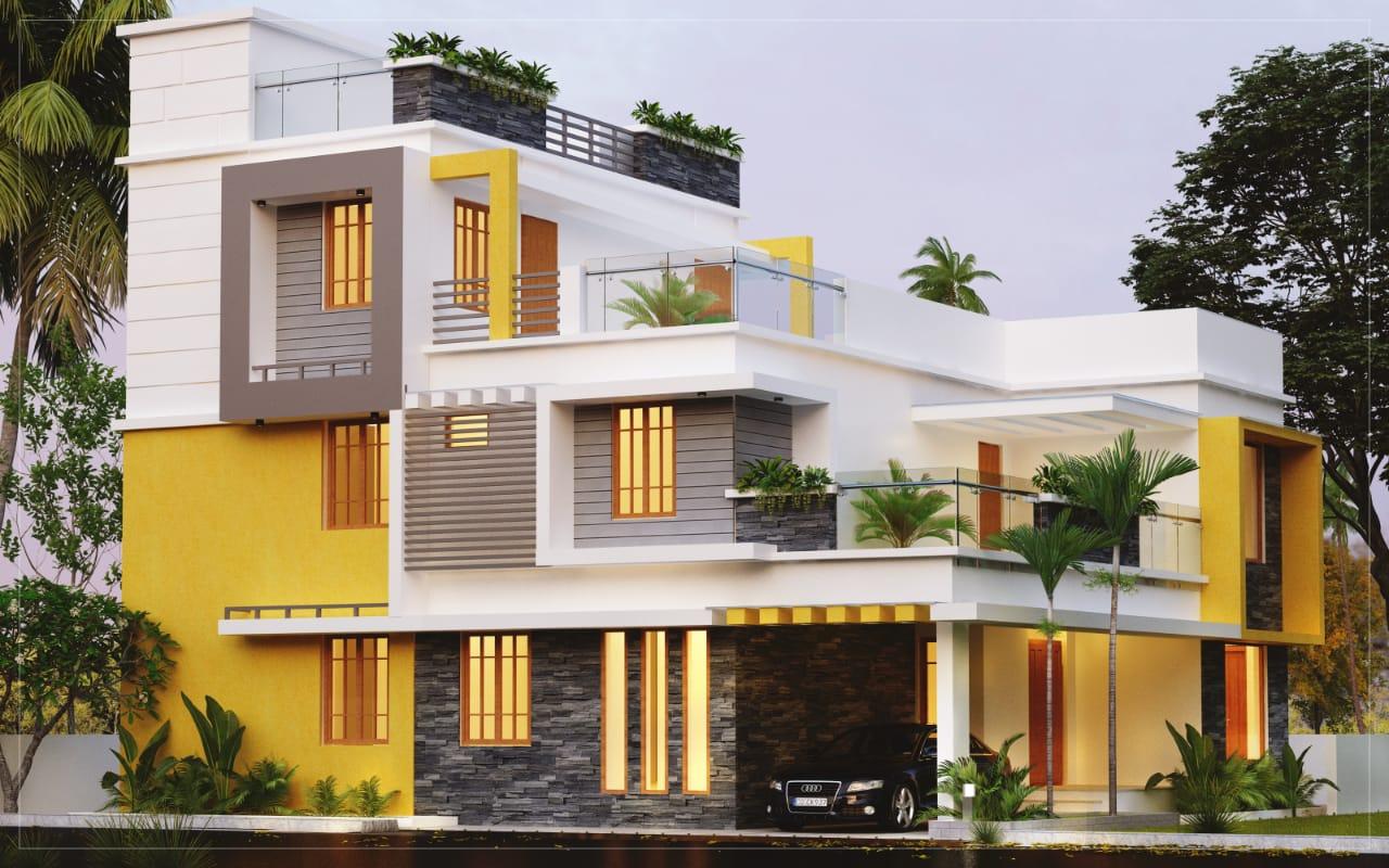 4BHK Ultra luxury villa residence design Cochin style