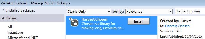 Installing Harvest.Chosen in ASP.Net MVC