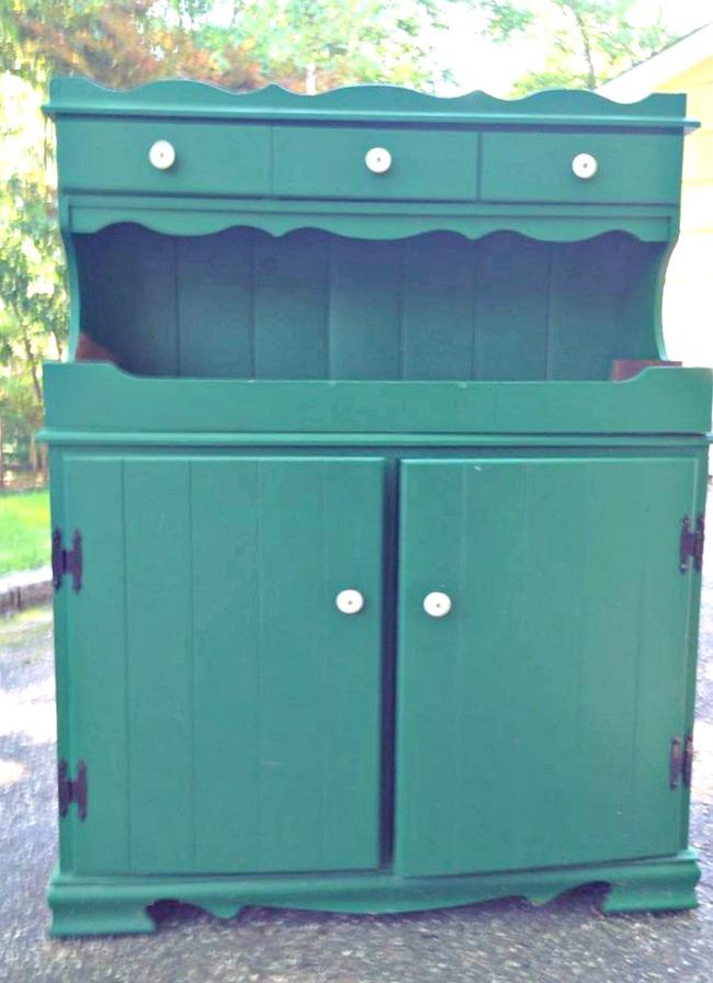Old dark green hutch