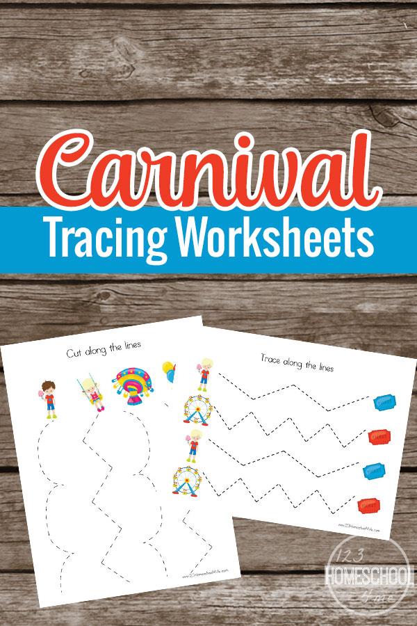 Carnival Prewriting Tracing Worksheets