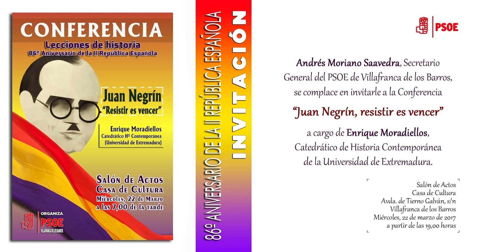 """Conferencia """"Juan Negrín, resistir es vencer"""""""