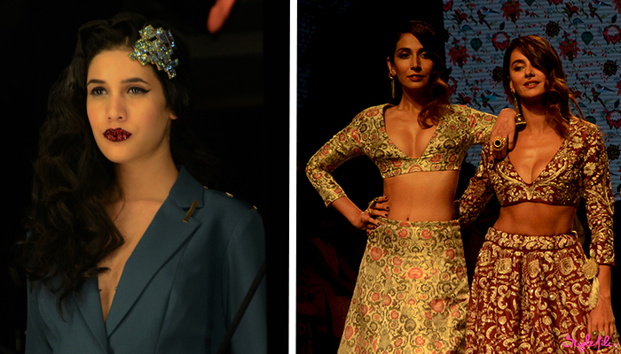 A model wears winged eye liner and red crystal lips for Nikhil Thampi by the Lakme Salon and Monica Dogra and Anusha Dandekar wear dark lips and septum rings for Payal Singhal at Lakme Fashion Week Summer Resort 2016 at St. Regis, Mumbai