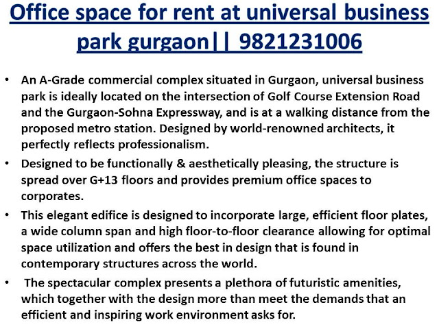Furnished office space for rent in universal business park gurgaon