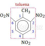 Penamaan turunan benzena untuk senyawa (2): 1-metil-2,4,6-trinitrobenzena, 2,4,6-trinitrotoluena (TNT)