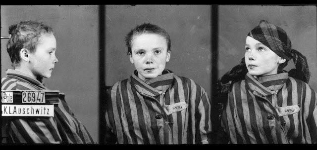 Czeslawa Kwoka, age 14, appears in a prisoner identity photo provided by the Auschwitz Museum, taken by Wilhelm Brasse while working in the photography department at Auschwitz, the Nazi-run death camp where some 1.5 million people, most of them Jewish, died during World War II. Czeslawa was a Polish Catholic girl, from Wolka Zlojecka, Poland, who was sent to Auschwitz with her mother in December of 1942. Within three months, both were dead. Photographer (and fellow prisoner) Brasse recalled photographing Czeslawa in a 2005 documentary: