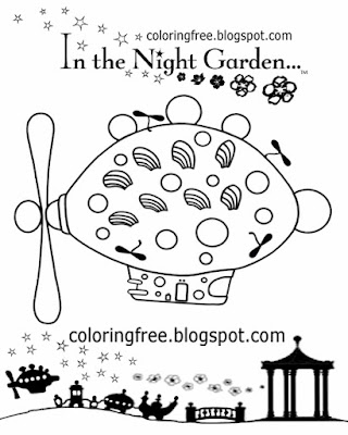 Cartoon airship printable coloring in the night garden Pinky Ponk playgroup easy drawing activities