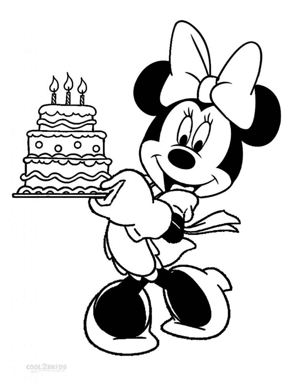 cake happy birthday minnie mouse coloring pages